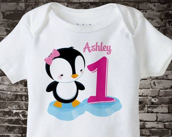 Girl's First Birthday Penguin Shirt Personalized Birthday Girl Penguin Theme Tee Shirt or Onesie 02012013a