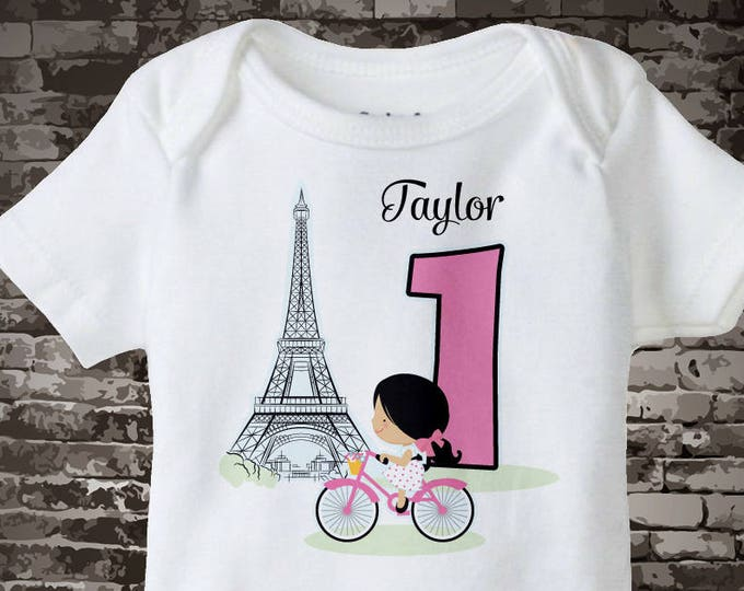 Paris First birthday Onesie Bodysuit or shirt, 1 year old girl gift, 1 year old Birthday Shirt or Onesie Bodysuit 10172017c