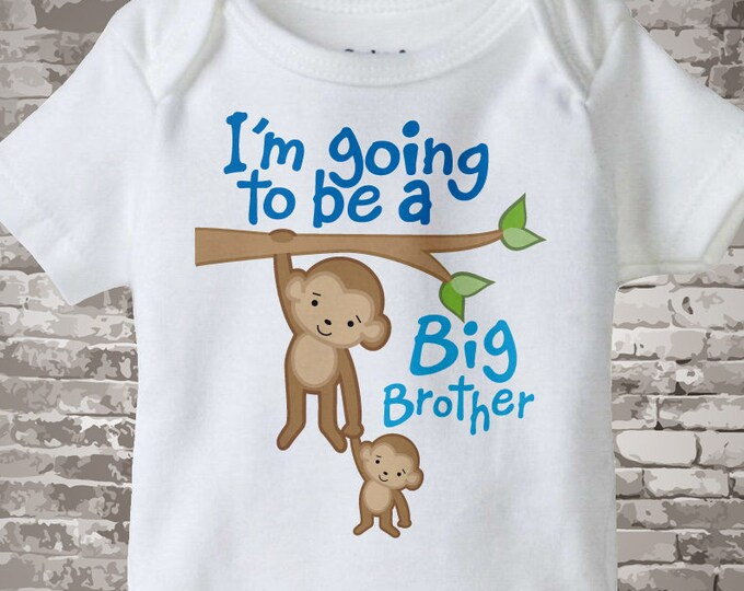 Big Brother Onesie Bodysuit or Shirt - Big Brother Monkey Shirt - Personalized Monkey Jungle Theme Onesie or t-shirt 10202011a