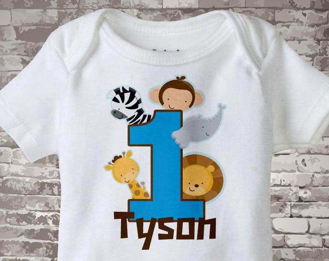 Boy's One Year Old Jungle Birthday Shirt or Onesie with Name, 1st Birthday Shirt, Personalized Jungle Birthday Theme 01222013a