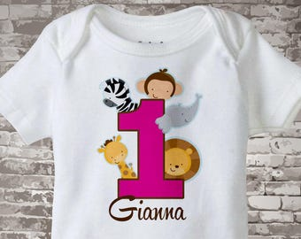 Girl's One Year Old Jungle Birthday Shirt or Onesie with Name, 1st Birthday Shirt, Personalized Jungle Birthday Theme 01222013bz