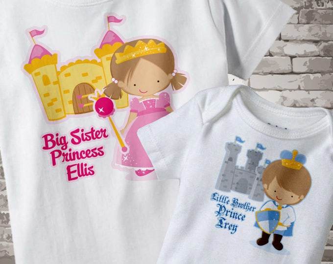 Set of Two Personalized Brown Hair Big Sister Princess Shirt, and Brown Hair Little Brother Prince Onesie 04022013a