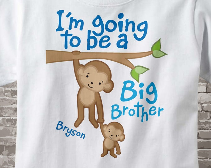 Big Brother Shirt - Big Brother Announcement - Big Brother Gift - Jungle Theme Monkey Big Brother - Big Brother T shirt - 10202011a