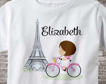 Paris Girl's Shirt, Pink Bicycle riding past Eiffel Tower, Personalized with Name 02102014h