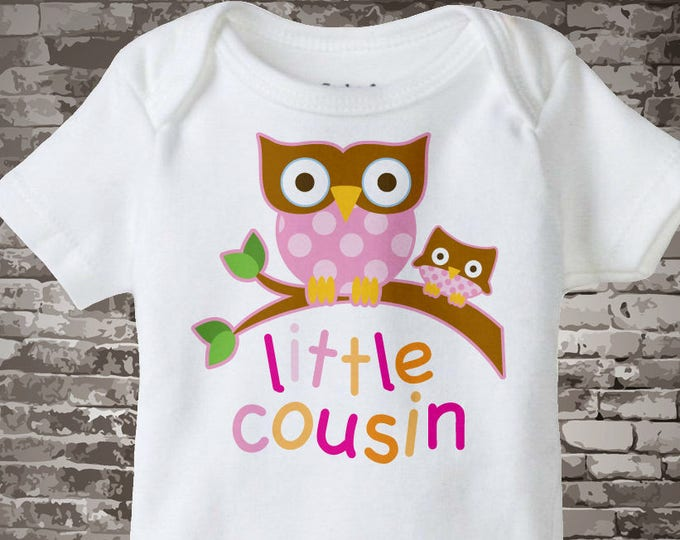 Personalized Little Cousin Onesie or Tee Shirt with two owls on a branch 07092013b