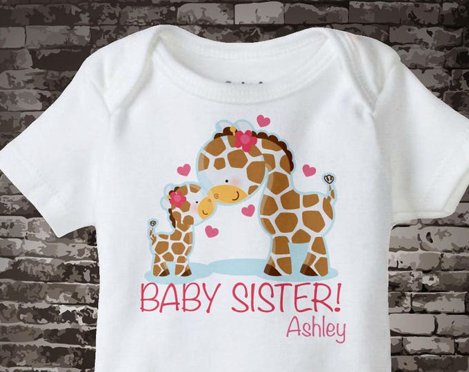Personalized Baby Sister Giraffe Shirt or Onesie with name, showing with a big girl giraffe sister 05062014c
