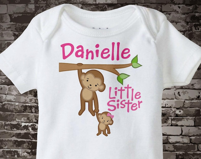 Little Sister Onesie, Little Sister Shirt, Personalized Little Sister Monkey with Big Brother Tee Shirt or Onesie 07182011b