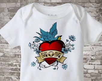 Baby Bodysuit - Boy's Valentine Mom Tattoo Heart Shirt or Onesie bodysuit for baby, Personalized 01182011a1