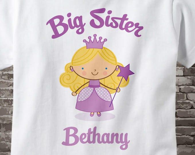 Princess Big Sister Shirt, Personalized Blonde Big Sister Shirt or Onesie, Big Sister Shirt for Toddlers and Kids 07182012a