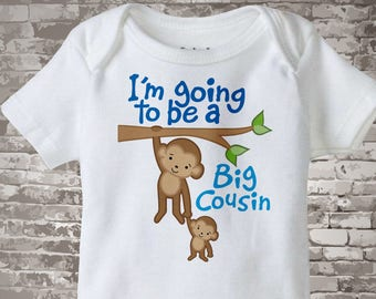 I'm Going to Be A Big Cousin Shirt, Big Cousin Onesie, Personalized Big Cousin Shirt, Monkey Shirt with Baby Monkey 03142012b