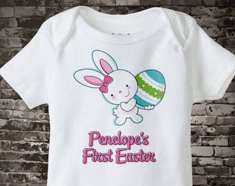 Easter Outfit | First Easter Onesie Personalized | Baby's 1st Easter Onesie First Easter Bunny and Egg Shirt Toddlers and Kids 03072012a