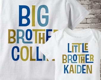 Boys Set of Two Big Brother Little Brother Top Shirt set of 2, Sibling Shirt, Personalized Tshirt and Onesie 01162012b
