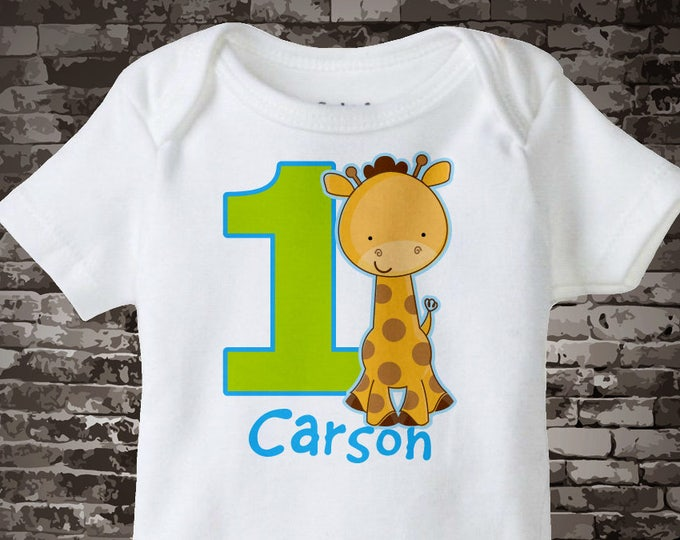 Personalized FIrst Birthday Giraffe Onesie or Tee Shirt with blue and green colors, 1st Birthday Giraffe tee, Safari Theme 01072013a