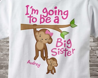 Big Sister Shirt, Big Sister Onesie, Personalized I'm Going to Be A Big Sister Shirt, Monkey Shirt with Baby Monkey 12132011a