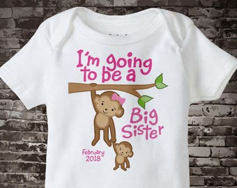 I'm Going to Be A Big Sister Onesie, Big Sister Onesie, Personalized with Due Date, Monkey Shirt with Baby 08302012a1