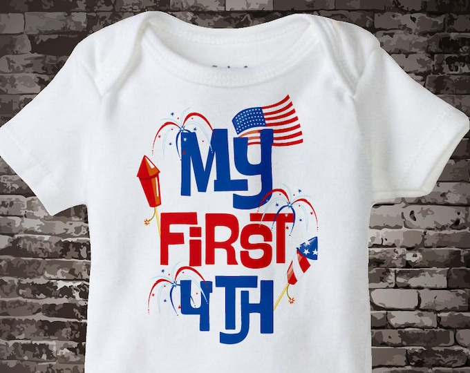 d7754b4ff 4th July Onesie | My First 4th of July Tee Shirt or Onesie, My 1st