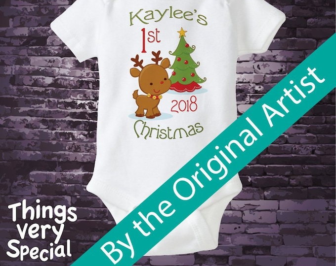 1st Christmas Outfit, My First Christmas Onesie, Personalized Bodysuit, Reindeer - Christmas Outfit Short or long sleeve 08222012d