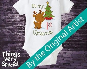1st Christmas Onesie, First Christmas Shirt, Personalized 1st Christmas T-Shirt or Onesie, Reindeer Shirt (11212011a)