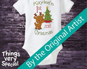 Personalized 1st Christmas Outfit, First Christmas Shirt, Personalized 1st Christmas T-Shirt or Onesie, Reindeer The Original 08222012d