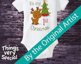 My 1st Christmas Onesie or shirt, My First Christmas Shirt or Onesie, My 1st Christmas T-Shirt or Onesie, Reindeer Shirt 11212011a