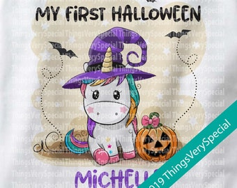 My first Halloween Outfit Onesie or Shirt, 1st Halloween Shirt or Onesie outfit, Cute Unicorn Shirt or Onesie 08162019c