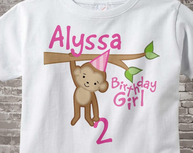 Girls 2nd Birthday Shirt, Second Birthday Monkey Shirt, Personalized Birthday Girl Monkey Shirt any Age 02192014c