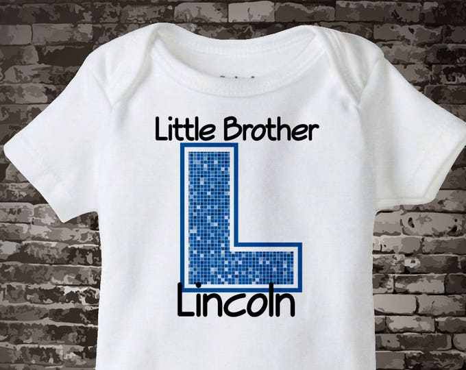 Boy's Personalized Little Brother Onesie or Tee Shirt with Large Blue Initial of his name 04182014e1