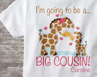 I'm Going to Be A Big Cousin Shirt, Big Cousin Onesie, Personalized Shirt, Giraffe Shirt baby giraffe 04122012a