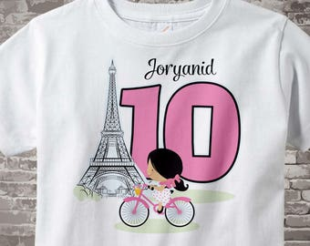 Paris Birthday Shirt for tenth Birthday, Pink 10 Birthday Shirt, Personalized Girls Birthday Shirt Pink Age Name Tee for kids 01302017a