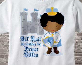 8th Birthday Shirt - African American Prince - Eighth Birthday Shirt - Personalized Prince Birthday Boy Shirt or Onesie 07032014az