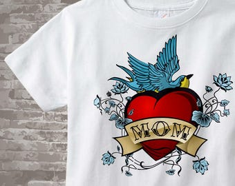 Boy's Mother's Day Mom Tattoo Shirt or Onesie for kids and adults, Tattoo Heart, Personalized Tattoo Heart t-shirt kids and adults 01182011a