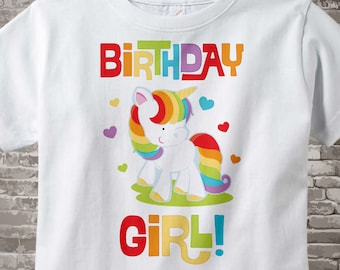 Unicorn Birthday Shirt Outfit Girl Rainbow Onesie 01222014b