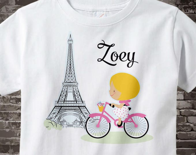 Paris Girl's Shirt, Pink Bicycle riding past Eiffel Tower, Personalized with Name 11062015a
