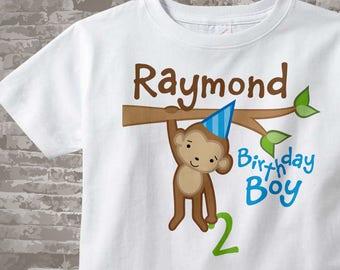 Monkey Birthday Shirt, Personalized Birthday Boy Monkey Shirt or Onesie any age 12312013j