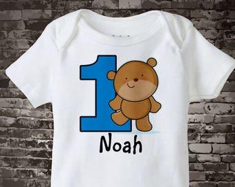 Personalized FIrst Birthday Teddy Bear Tee Shirt or Onesie, 1st Birthday Baby Bear tee, Woodland Theme 03222016e