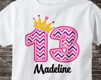 Thirteenth Birthday Shirt, Pink Chevron 13 Birthday Shirt, Any Age Personalized Girls Birthday Shirt Pink Age and Name Tee kids 10172017b