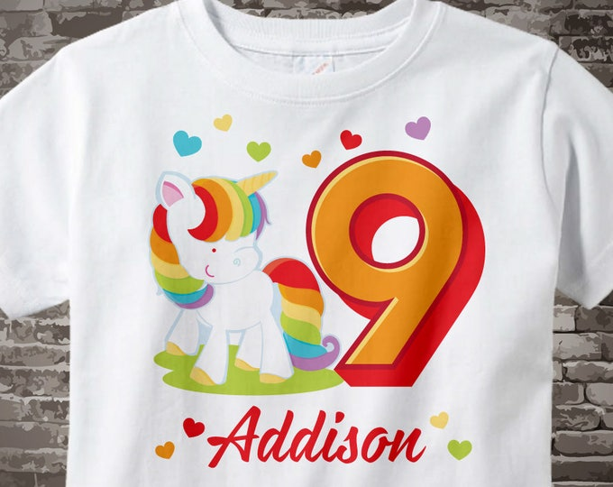 9th Birthday Girl Unicorn Birthday Shirt, Personalized Girl's Ninth Birthday Shirt, 9th Birthday Rainbow Unicorn Birthday Theme 04172017a
