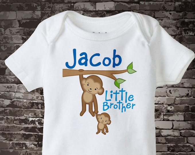 Little Brother Shirt, Little Brother Onesie, Personalized Little Brother Monkey with Big Brother Tee Shirt or Onesie 07182011a