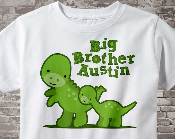 Big Brother Shirt with Dinosaurs and Little Brother Personalized Tee Shirt or Onesie Pregnancy Announcement 12082011m