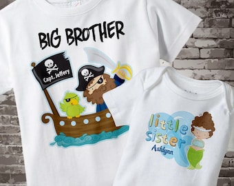 Big Brother Little Sister Shirt set of 2, Sibling Shirt, Personalized Tshirt with Pirate Big Brother and Mermaid Little Sister 01292014b