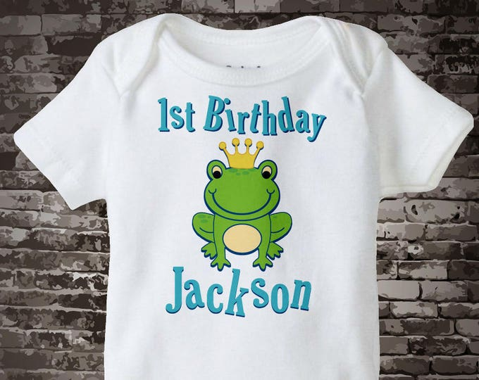 1st Birthday Onesie, 1st Birthday Frog Prince Shirt, Personalized Frog Prince First Birthday Boy Tee or Onesie 08172011a1