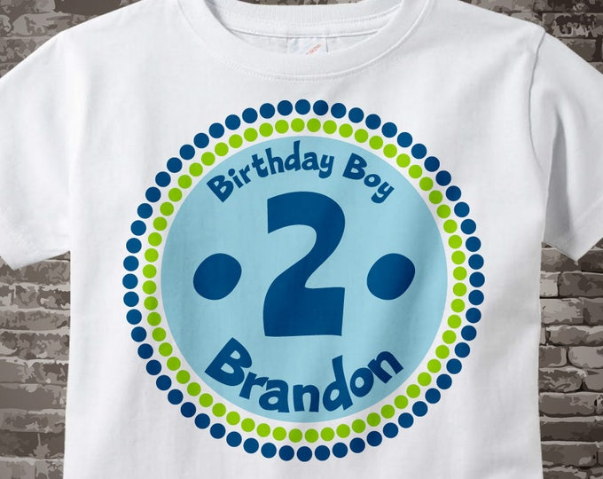 2nd Birthday Shirt, Two Year Old Birthday, 2nd Birthday Shirt, Personalized 2nd Birthday Boy Circle Tee or Onesie Green Blue 04152014f