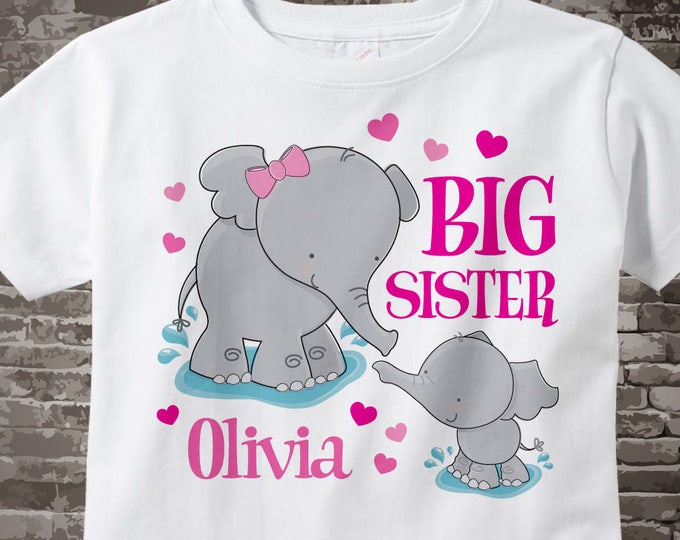 Elephant Big Sister Shirt, Big Sister with little unknown gender baby Elephant Tee shirt or Onesie Pregnancy Announcement 06102014d