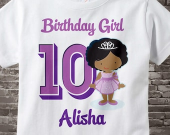 Tenth Birthday Shirt, Princess 10 Birthday Shirt or Onesie, Any Age Personalized Shirt Purple Age and Name Tee for kids 05232017d