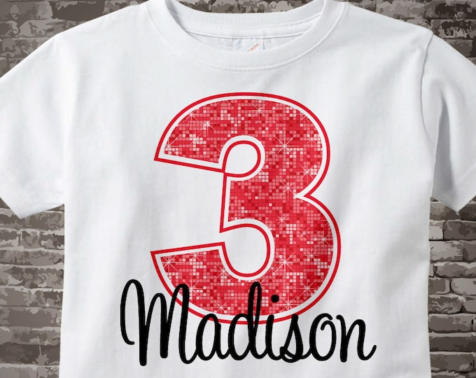 Birthday girl shirt Third Birthday t-shirt, Red 3rd Birthday Shirt, Personalized Girls Birthday t-shirt, Red number birthday 08312015c