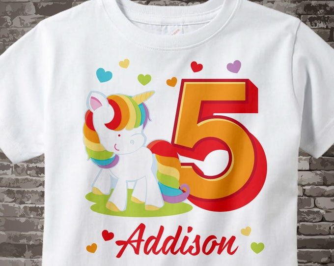 5th Birthday Girl Unicorn Birthday Shirt, Personalized Girl's Fifth Birthday Shirt, Rainbow Unicorn Birthday Theme 02032017a