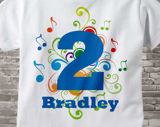 Birthday Boy Shirt - Music Themed 2nd Birthday Shirt, Personalized Boy's Music Birthday Any Age, Second Birthday Musical Birthday 08222012c