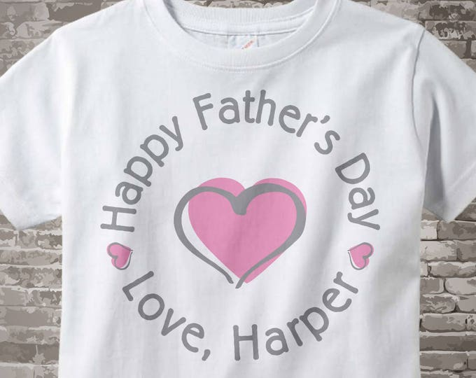 Happy Father's Day Shirt,  New Dad Gift, Personalized Fathers Day Onesie or Tee shirt with Pink Heart 03112014b