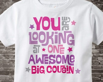 Girl's Awesome Big Cousin Shirt or Onesie Bodysuit, You are looking at one awesome Big Cousin Shirt, Big Cousin Outfit gift 10312015a