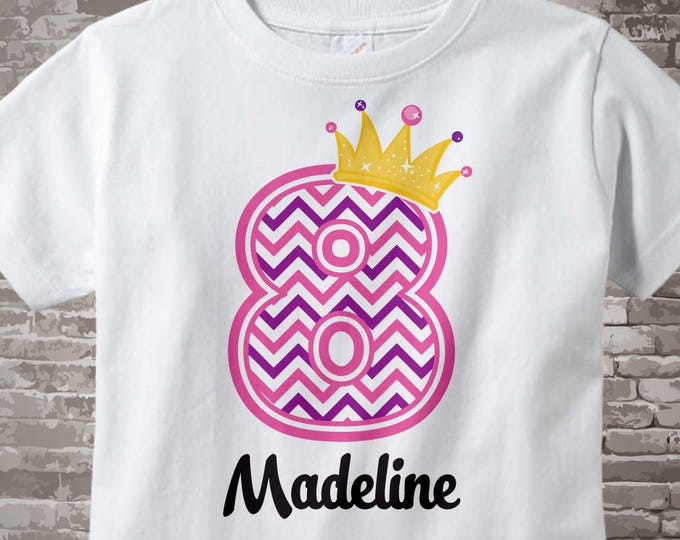 Eighth Birthday Shirt, Pink Chevron 8 Birthday Shirt, Any Age Personalized Girls Birthday Shirt Pink Age and Name Tee for kids 12022014bz